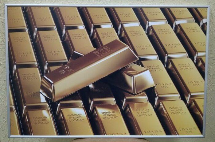 Постер в алюминиевой рамке «Золото» 400x400 мм
